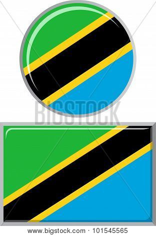 Tanzanian round and square icon flag. Vector illustration.