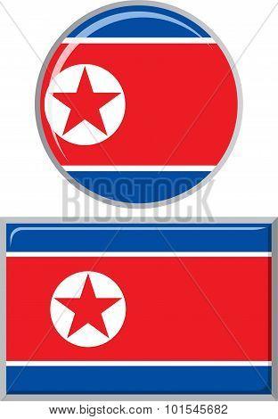 North Korea round and square icon flag. Vector illustration.