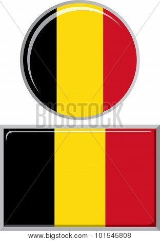 Belgian round and square icon flag. Vector illustration.