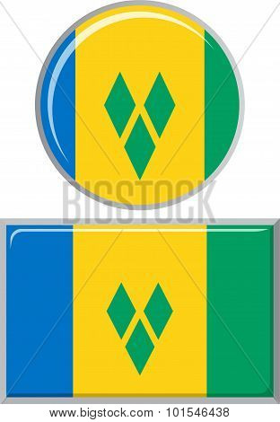 Saint Vincent and the Grenadines round, square icon flag. Vector illustration.