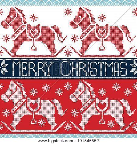 Light and dark blue , red Merry Christmas Scandinavian seamless Nordic pattern with  rocking dala po