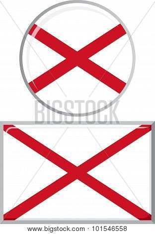 Northern Ireland round and square icon flag. Vector illustration.