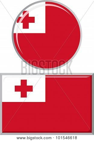Tonga round and square icon flag. Vector illustration.