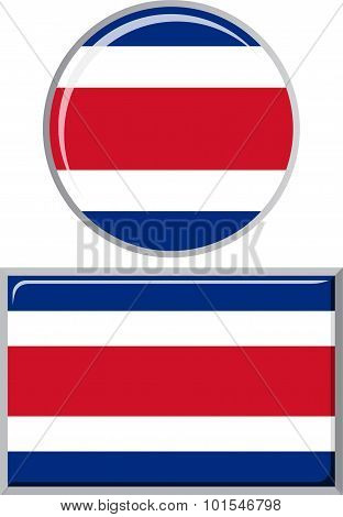Costa Rican round and square icon flag. Vector illustration.