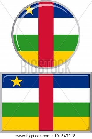 Central African Republic round and square icon flag. Vector illustration.