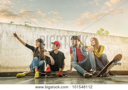 Skateboarder Couples made selfi photo
