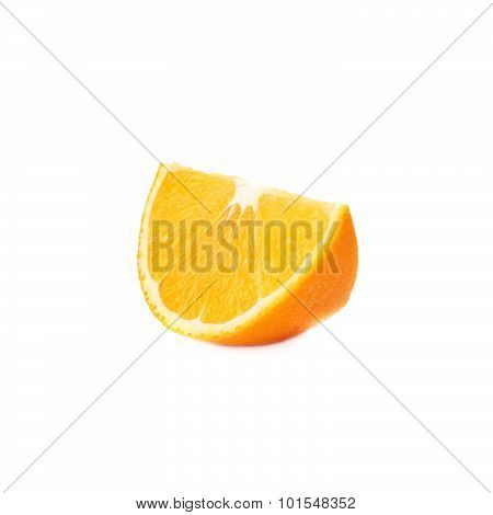 Slice section of orange isolated over the white background