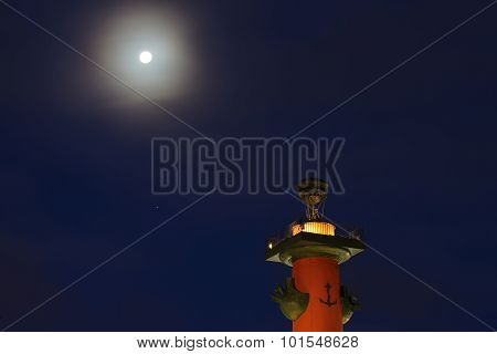 Rostral column on the background of the night sky. Saint-Petersburg, Russia