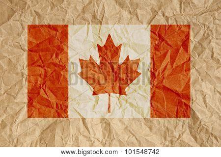 Crumpled Paper Canada Flag