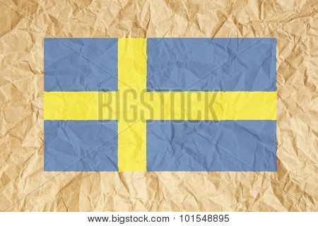 Crumpled Paper Swedish Flag
