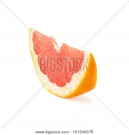 Slice section of grapefruit isolated over the white background
