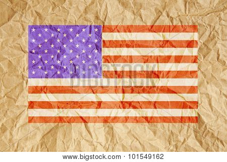 Crumpled Paper Usa Flag