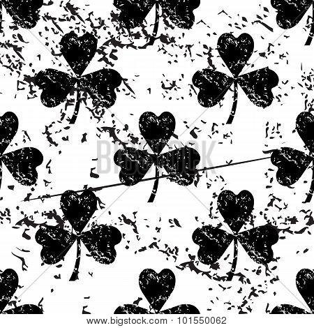 Clover pattern, grunge, monochrome