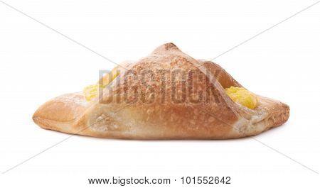 Sweet bread bun with yellow cream