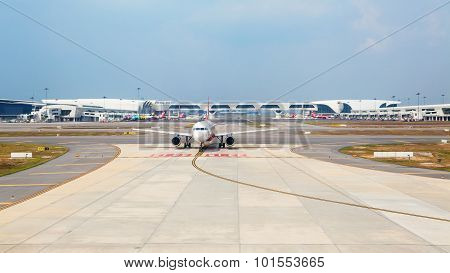 Airasia aircraft waiting for take off in KLIA airport
