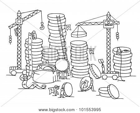 Sketch Of Stack Of Coins