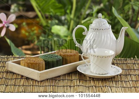 Moon Cake On The Tray Jug Of Tea
