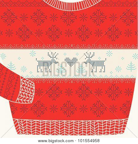 Christmas Ornamental Sweater - Ugly Party Sweater - in vector