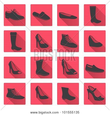 Boots And Shoes Red And Gray Flat Icons Eps10