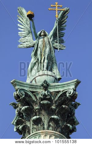 Archangel Gabriel Statue On Heroes Square Column In Budapest