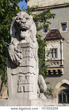 Lion Sculpture At Vajdahunyad Castle In Budapest