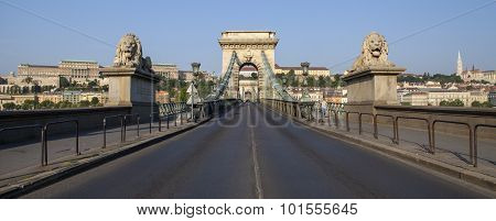 Chain Bridge, Buda Castle And The Fisherman's Bastion In Budapest