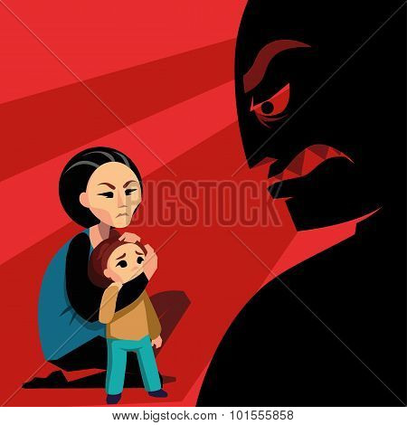 Woman hides the child from male silhouette