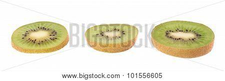 Sliced kiwifruit section isolated
