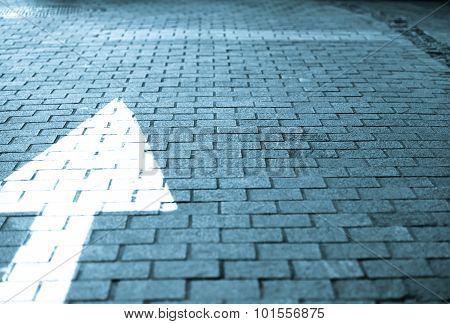 White Arrow Straight Forward On Block Street Vintage Retro Tone In Blue