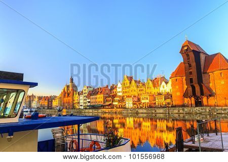 Polish Old Town Gdansk as Christmas time winter holidays destination