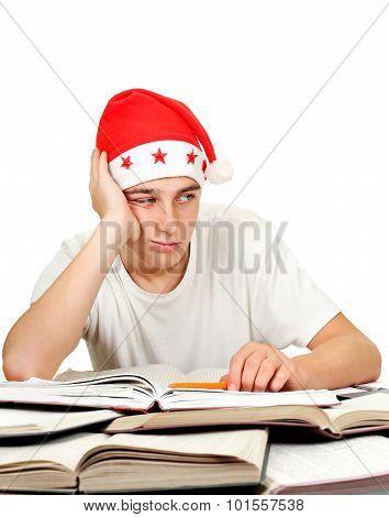 Sad Student In Santa Hat