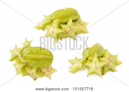 Averrhoa carambola starfruit isolated