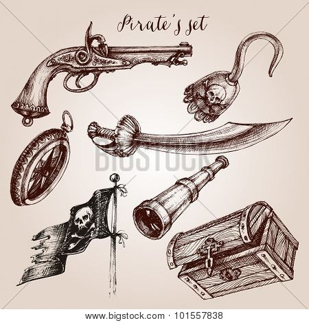 Hand drawn pirate set of design elements