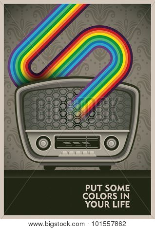 Conceptual poster with vintage radio. Vector illustration.