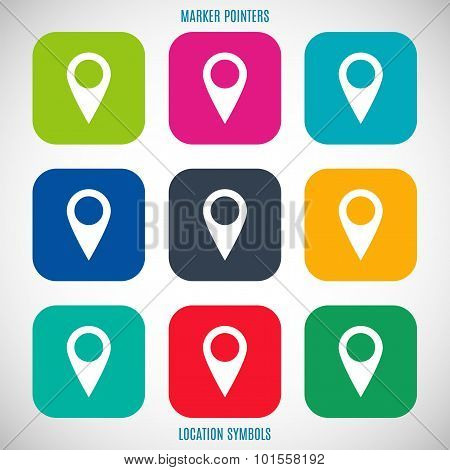 Set Of Map Pointers Icons In The Style Flat Design Different Color On A Gray Background