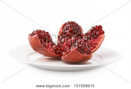 Split open pomegranate fruit