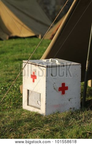 Old military first aid box
