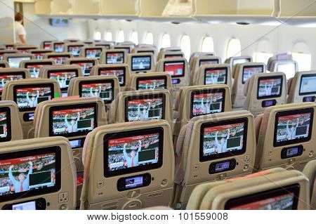 BANGKOK, THAILAND - SEPTEMBER 09, 2015: Emirates Airbus A380 aircraft interior. Emirates handles major part of passenger traffic and aircraft movements at the airport.