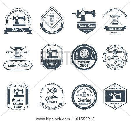 Tailor shop black labels icons set