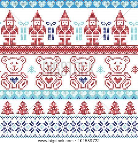 Dark and light blue , red Scandinavian inspired Nordic xmas seamless pattern with elf, stars, teddy