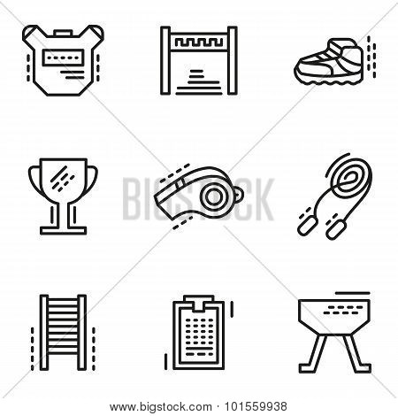 Physical education simple line vector icons