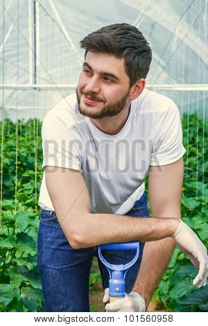 Young man working in a greenhouse.