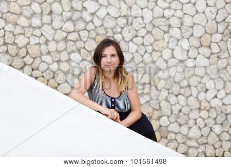 Woman On The Background Wall