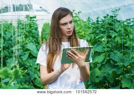 Portrait of a young woman at work in greenhouse.