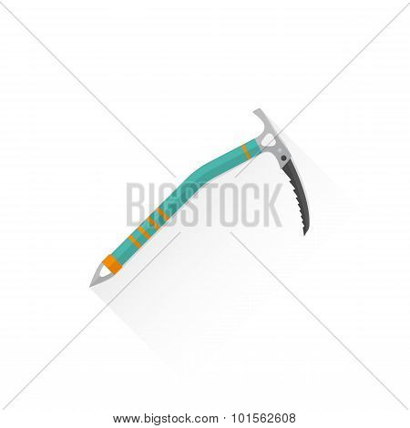 Color Alpinism Equipment Ice Axe Device Icon Illustration.
