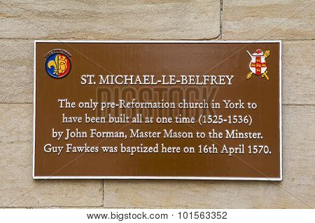St. Michael-le-belfrey Plaque In York
