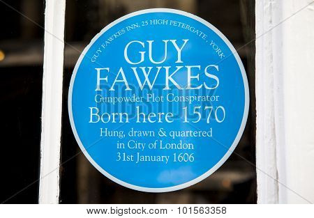 Guy Fawkes Blue Plaque In York
