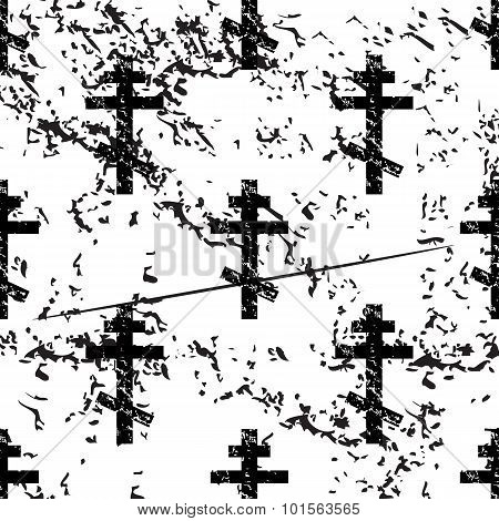 Orthodox cross pattern, grunge, monochrome