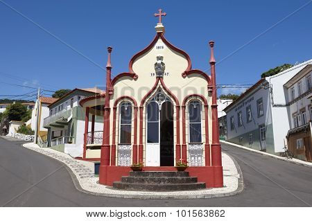 Traditional Azores Catholic Chapel In Topo. Sao Jorge. Portugal