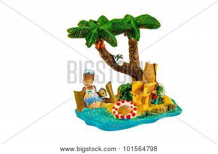 Toys Momkey Rest Under A Palm Tree